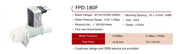 One way solenoid valve FPD-180F for washing machine