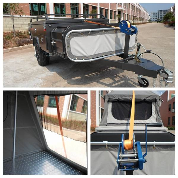 hard floor camping trailer with quick release manual winch for camper van build and folding