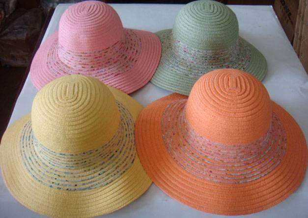 Paper braid straw + printing tape hats with big brim, Ladies fashion hats