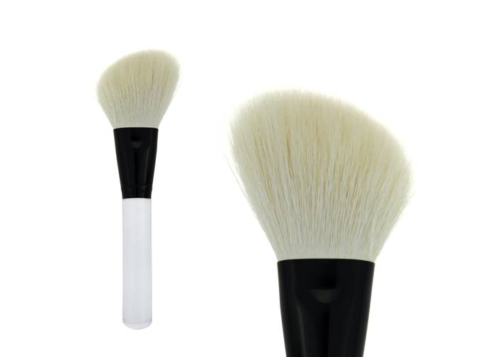 Angle White Goat Hair Contour Blush Brush Transparent Handle Metal Ferrule Brush