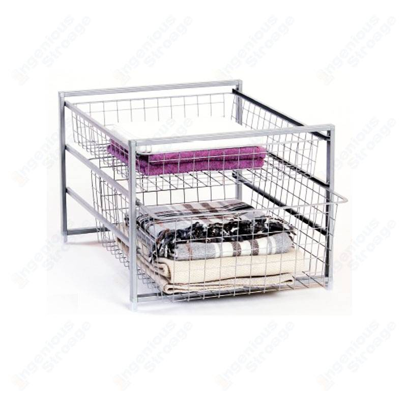 Wire basket drawer system