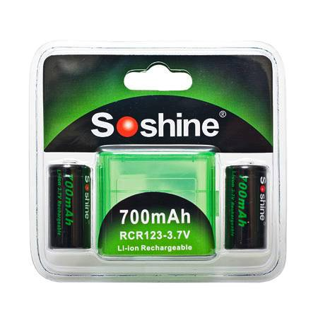 Soshine Li-ion RCR123/16340 700mAh 3.7V Rechargeable Battery