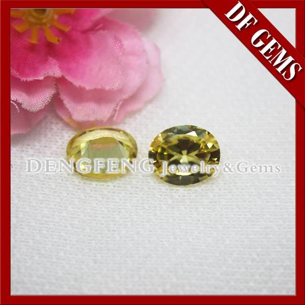 Synthetic Oval Cut Gem Stone peridot color cubic zirconia gemstone