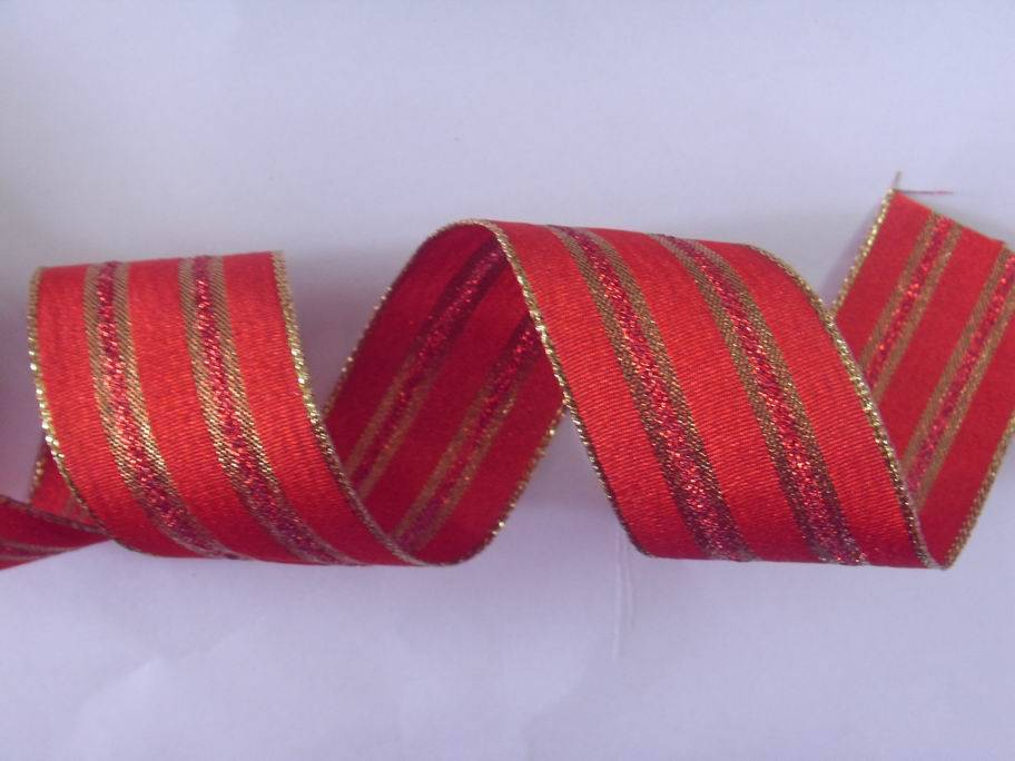 red/gold stripes christmas ribbon, wire edge