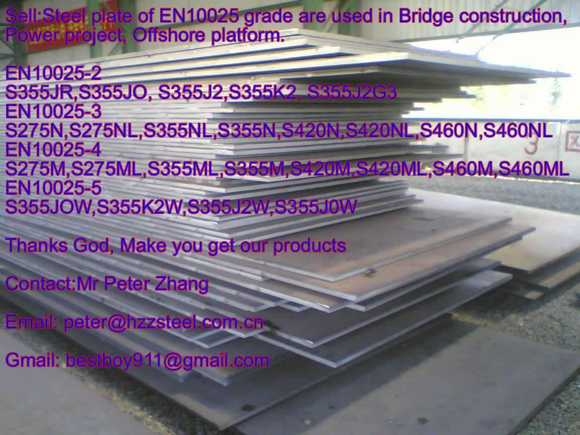 Sell :Spec EN10025-2 steel plate,Grade,S355JR,S355JO, S355J2,S355K2, S355J2G3 steel plate/sheets
