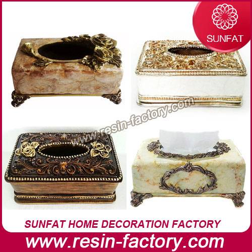 Home decoration items Resin tissue box decorative home decor