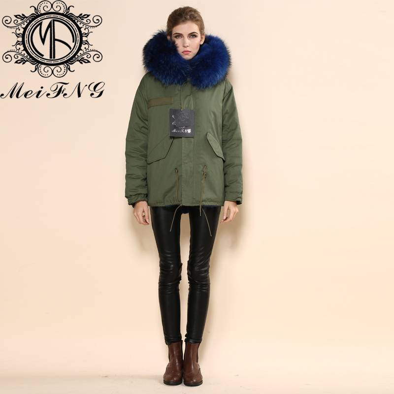 Very warm brilliant blue winter real fur hooded fox fur coat women