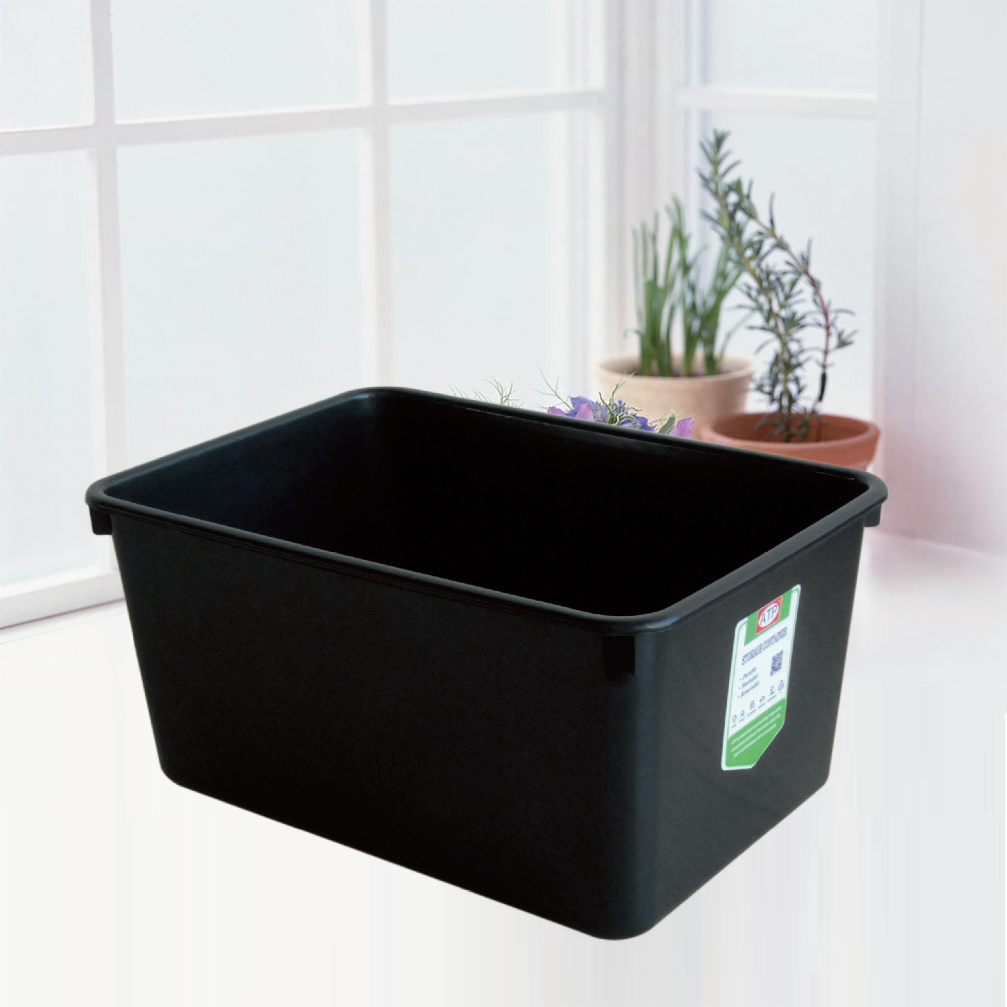 Houseware heavy duty 20L plastic storage box with No lid