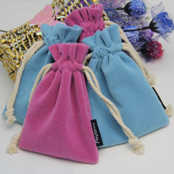 customized size small drawstring velvet gift pouch