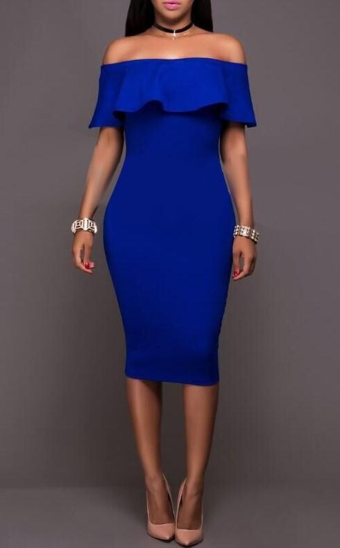 Sexy Off-shoulder Fashion Midi Dress Women Bodycon Party Dress