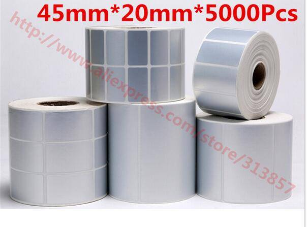 blank handmade sticker 45 20mm 5000Pcs matte silver PET barcode paper tags For label Printer 105