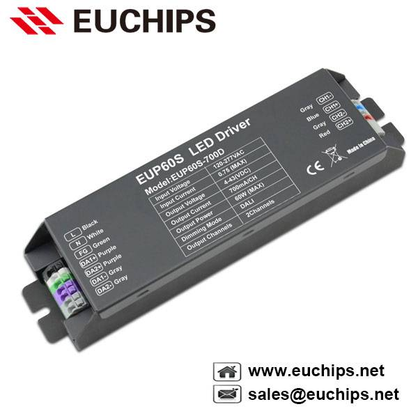 60W 700mA 2 channel constant current dali dimmable led driver EUP60S-700D