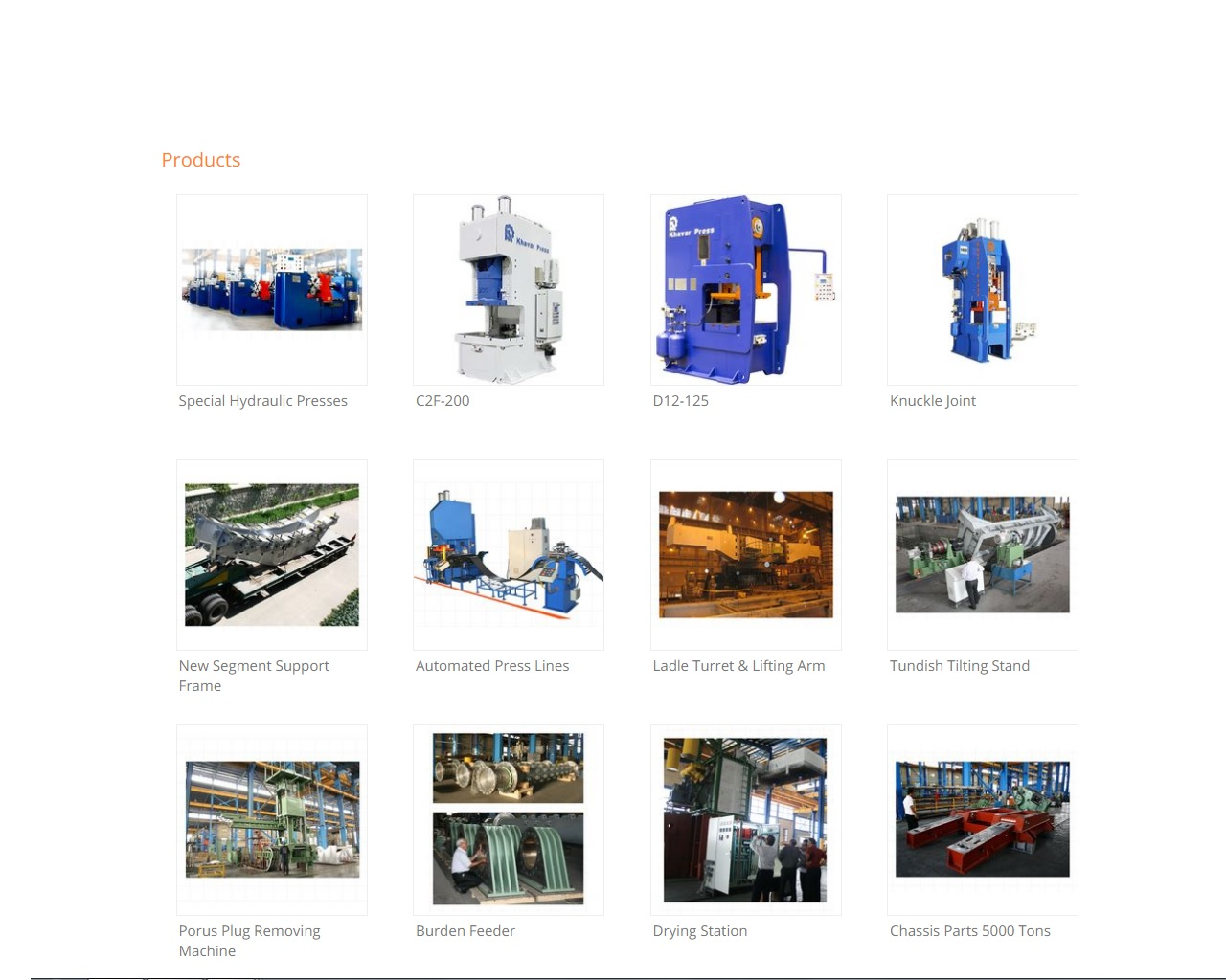 All Types of Hydraulic Press Machines, All Types of Mechanical (eccentric) Press Machines, Automated