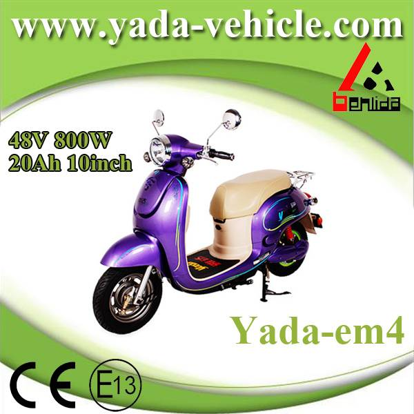 48v 800w 20ah 10inch drum brake mini fashion style electric scooter motorcycle (yada em4)