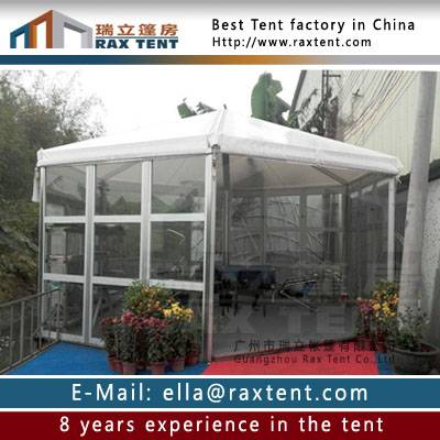 6m to 8m diameter width pentagon party tent with glass window