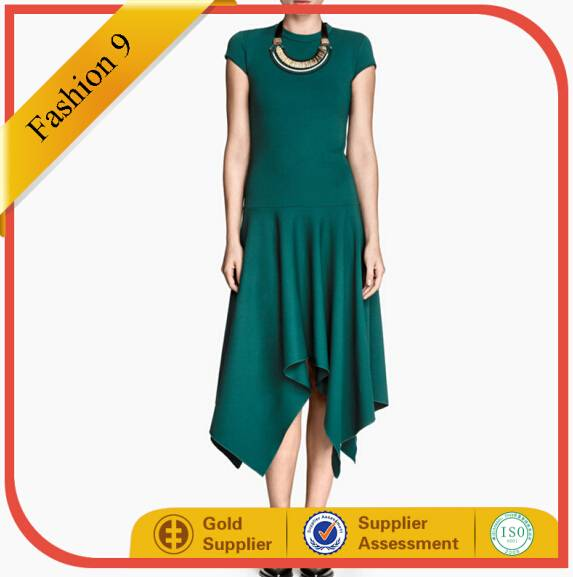 Women Green Asymmetric Casual Dress