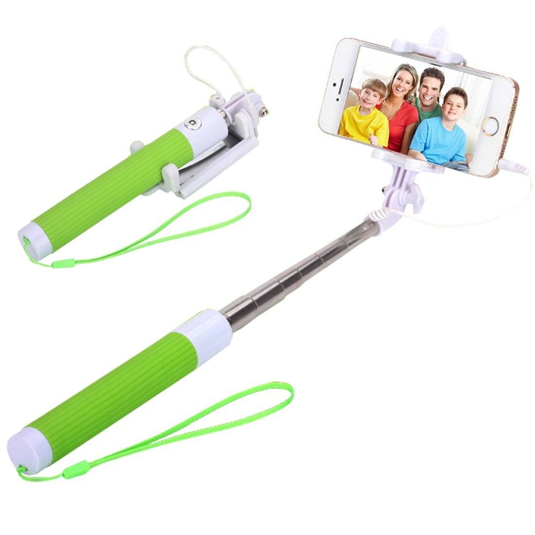 Sell Hot Folding Selfie Stick Cable Drived Wired Monopod Tripod for iphone,samsung