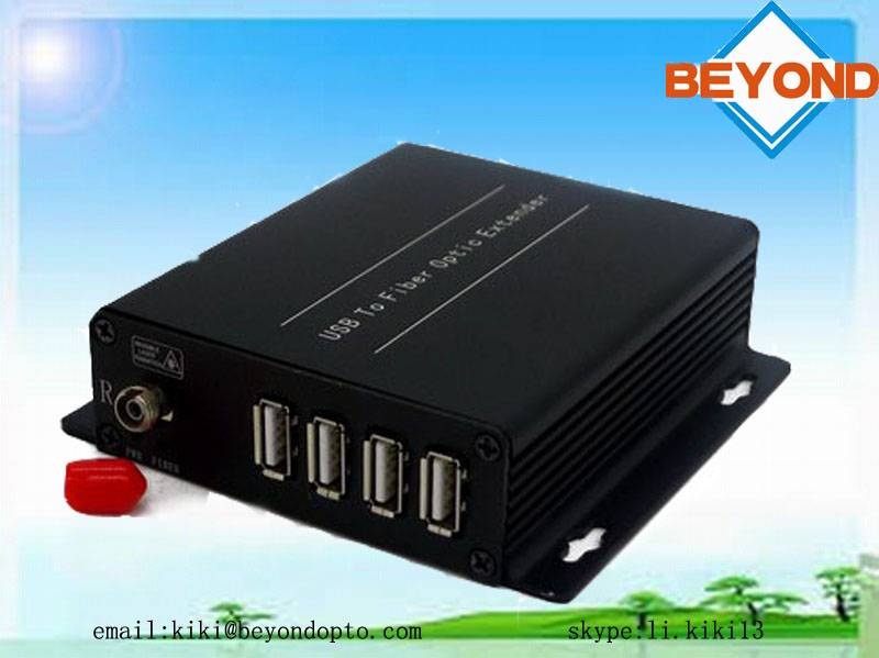 USB 2.0 to fiber optic extender with 4 port for control system