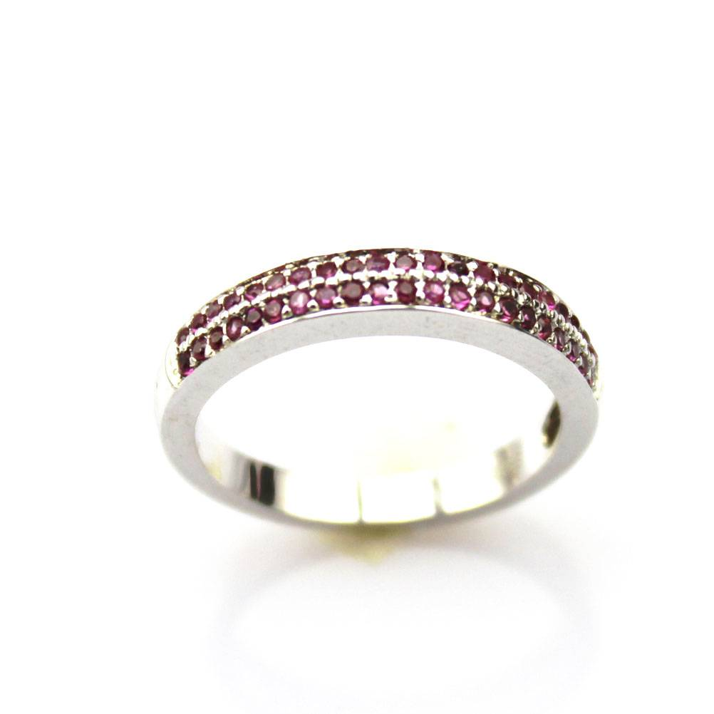 Sterling Silver Pave Ruy Cubic Zircon Ring (F92)