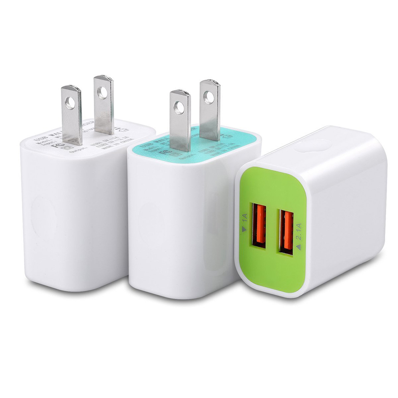 USB Wall Charger,AIRNOLD 2.1A/5V Dual Port USB Power Adapter Travel Plug Cube