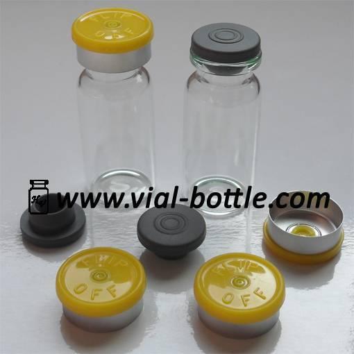 10ml Tubular Glass Vial for Antibiotics, lemon yellow flip-off caps, rubber stopper