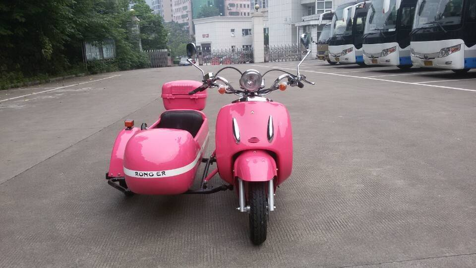 Mini Electric Motorcycle With Sidecar With Pink Color