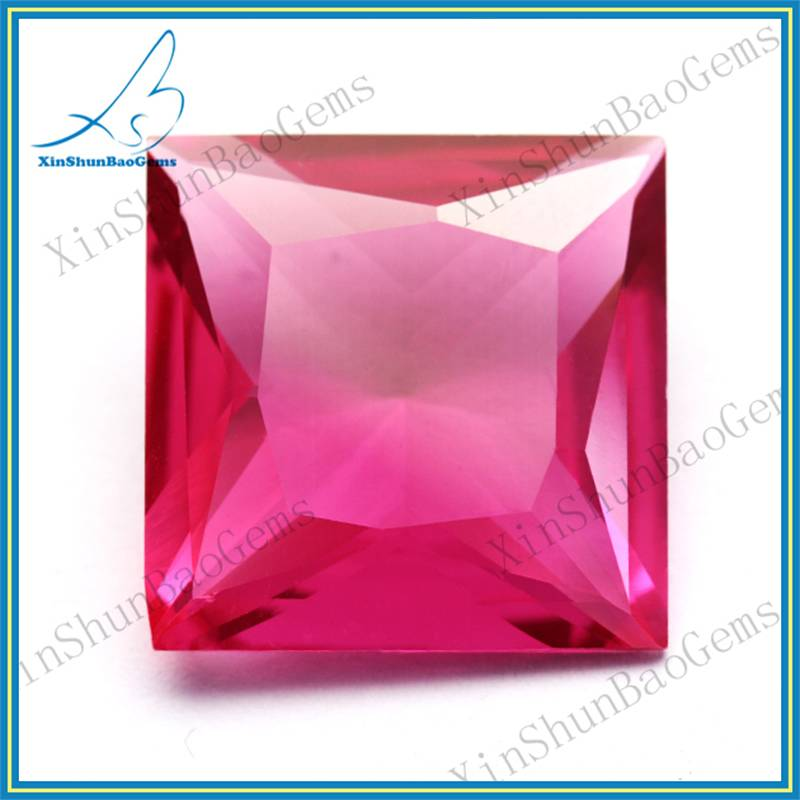China Factory Direct Sale Cushion Shape 3# Red Synthetic Ruby Gemstone