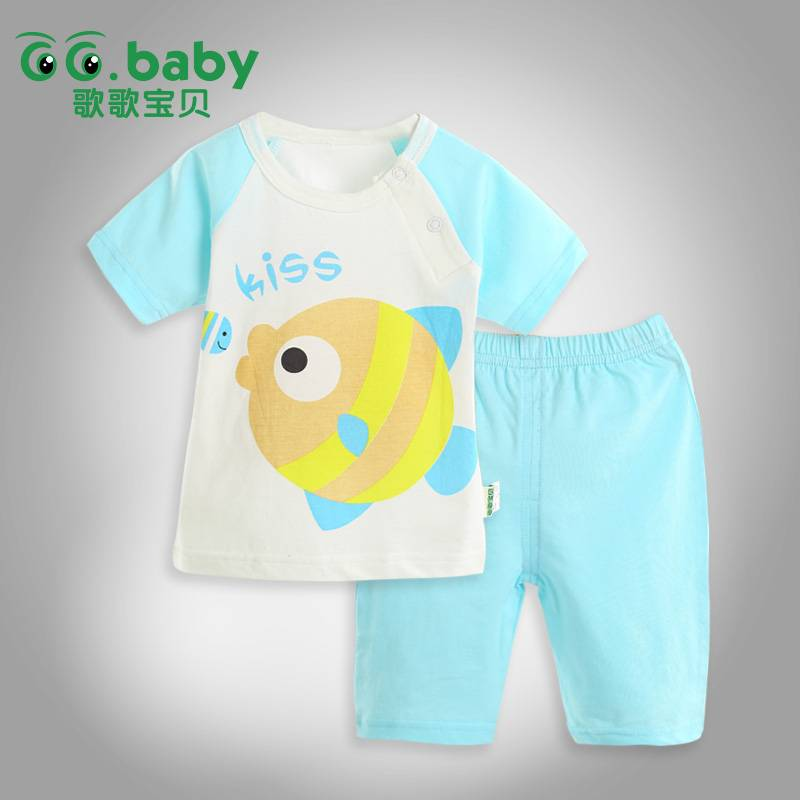 2015 Cute 100%Cotton Summer Baby Clothing Set,Babies Suits,Baby Boy Girl Clothes Sets
