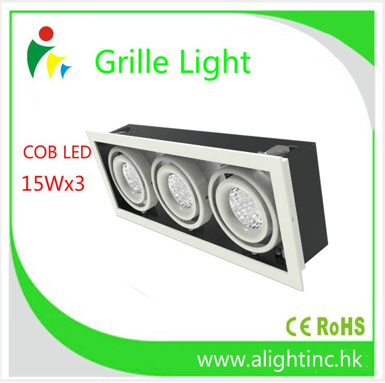 Cree COB LED Grille spot Lights 15WX3 aluminum led downlight