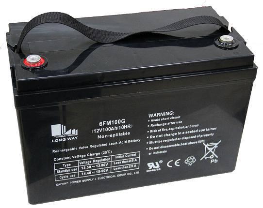 Valve regulated lead acid battery 6FM100(12v100ah/10hr)