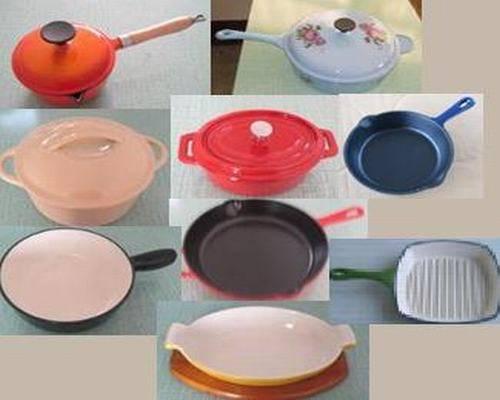 cast iron cookware/ enamel cookware/ casserole/frying pan/fondue sets