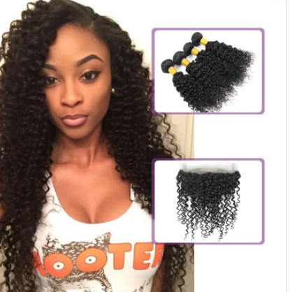 [8A]4 Bundles Brazilian Hair Weave Water Wave with 360 Lace frontal