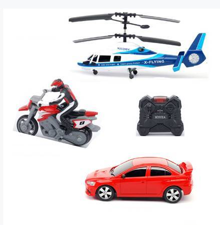 R/C Infrared 3 in 1 Group, 2CH Helicopter with 4 Function Car, 3CH motorcycle bike