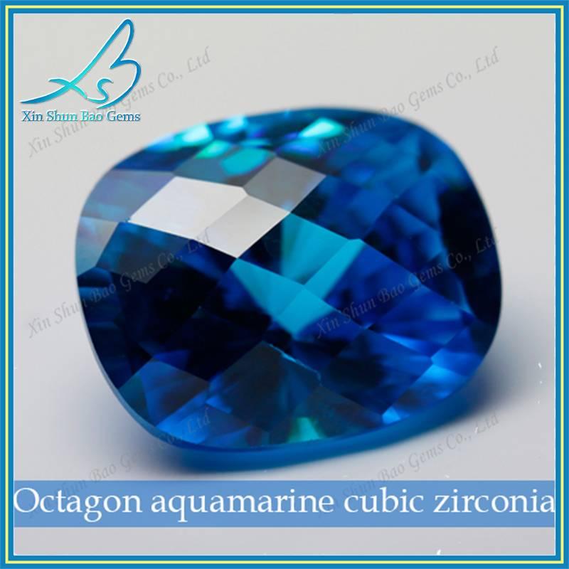 cushion shape aquamarine loose cubic zirconia gemstone