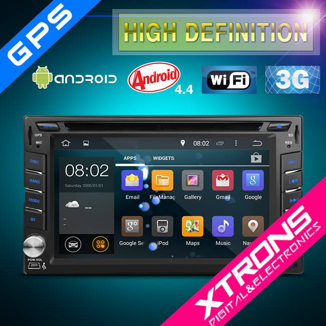6.2 Multi-touch Screen Android 4.4.4 Double Din Car DVD Player with Wireless Mobile Mirror Function