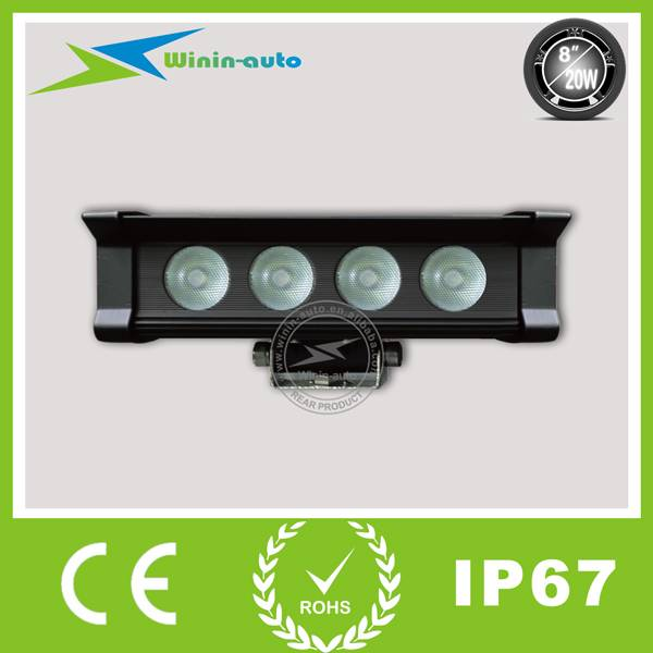 8 20W one row LED work light bar for car rescue vehicle 1700 Lumens WI9016-20