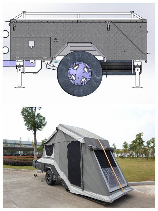 ADRs 62 Off road backward folding hard floor camping trailer with checker plate steel body building