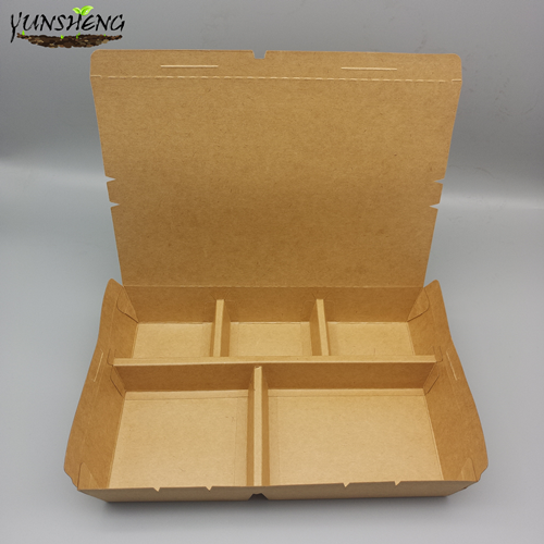 Disposable Compostable Kraft Paper Box with Dividers with Several Compartments