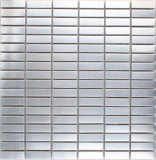 ME007S-2 silver strip stainless steel brushed metal mosaic
