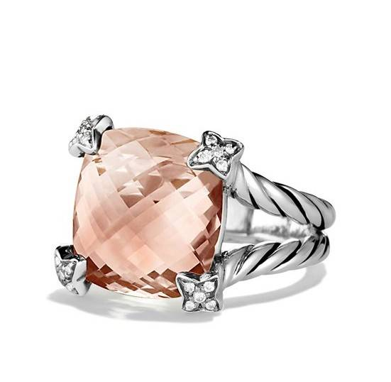 15mm Cushion On Point Ring with Morganite and Diamonds