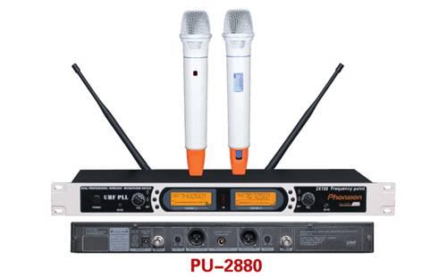 PU-2880 double channel wireless microphone