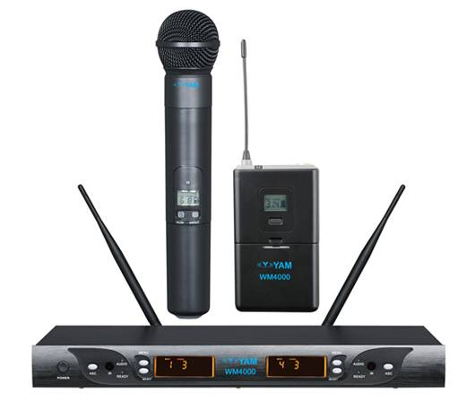 Yam Wm4000 Dual Channels Wireless Microphone UHF Wireless System