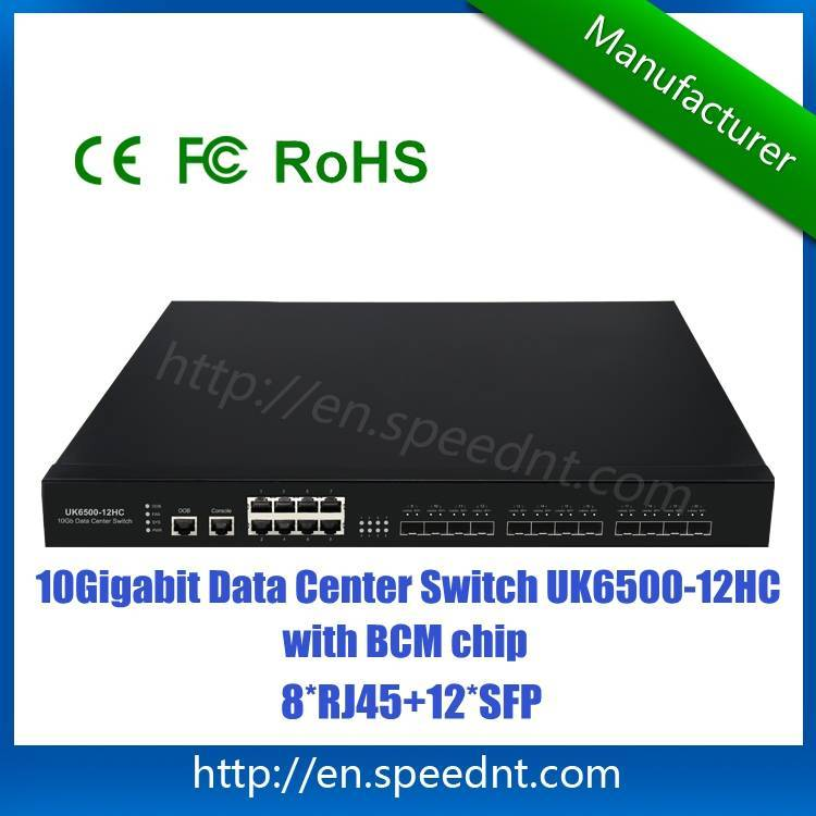 In stock 10Gigabit Network Switch for data center use UK6500-12HC with 12 10G SFP+ ports 8 RJ45