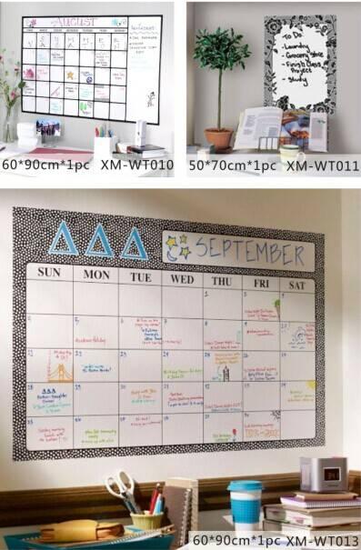 Square Calendar Design Printed Wall Home Decorative PP/PVC Whiteboard Sticker