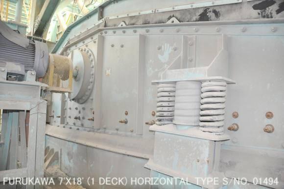 USED FURUKAWA 7FT X 18FT HORIZONTAL TYPE VIBRATING SCREEN (1 DECK) S/NO. 01494 WITH MOTOR