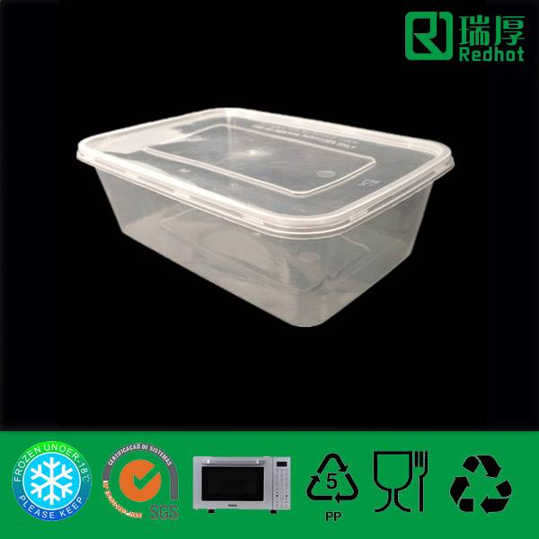 Clear Plastic Container with Lids (750ml)