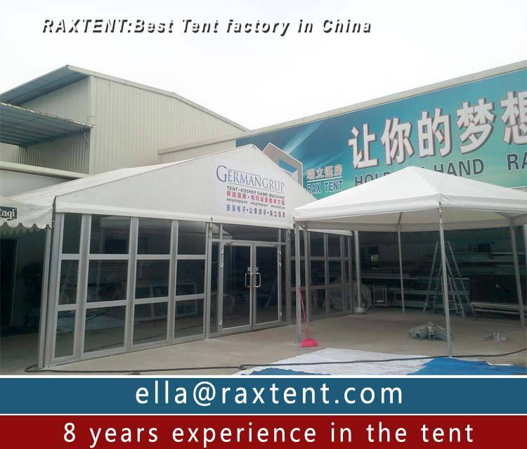 10m x 20m trade show tent with glass window