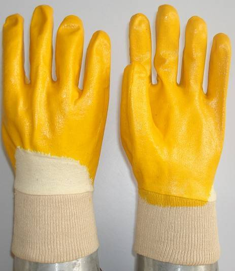 Yellow Nitrile coated/dipped Glove,open back knit wrist