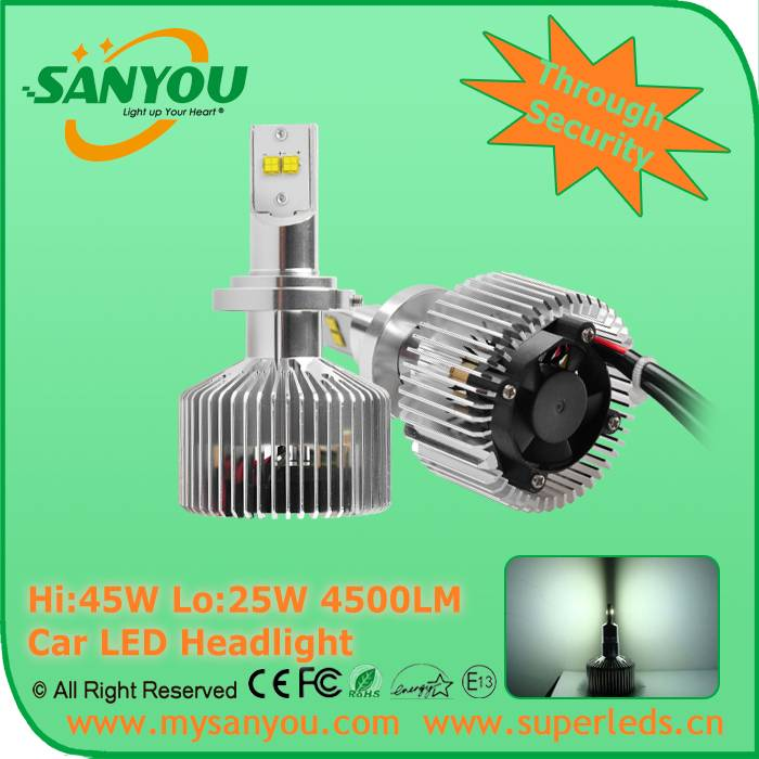 Sanyou Hi: 45W Lo:25W 4500LM 6000K Car LED Headlight