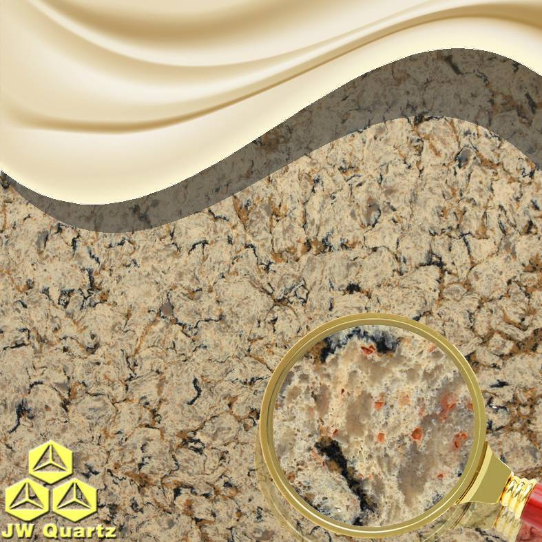 JW-6823 Mature Beige-Nice Quartz Stone Slab for Countertop
